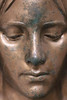 Tristesse (mkappweiler) Tags: austria vienna wien cimetière cimetery zentralfriedhof central facce visage gesicht portrait woman femme frau kupfer copper cuivre patina sad triste trauri