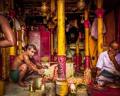 17 11 Kolkata (Time to try) Tags: newspaper hinduism kolkata colour yellow red leicaq leica india faith joss jossstick prayer temple hindutemple market westbengal travel street calcutta