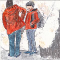 # 217 2017-12-03 (h e r m a n) Tags: herman illustratie tekening 10x10cm tegeltje drawing illustration karton carton cardboard kunst art back rug rucke ruggenfiguur ruckenfigur tweevrouwen twowomen jas coat