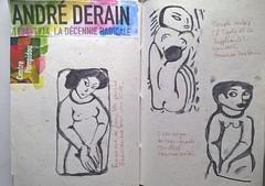 Par is. Musée Pompidou.. Exposition Derain. Croquis d'après trois gravures. (couleur.indigo) Tags: paris musée exposition carnet croquis crayon feutre