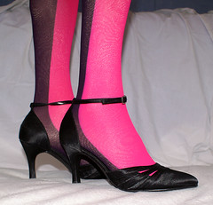 Pink & black tights (colleen_ni00) Tags: tranny transvestite tights heels strappy cd crossdresser