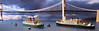 Aorangi and Dominion Monarch (oneyejack20071) Tags: 11250 miniature oceanliner model diecast harbor bridge voyage travel ocean diorama