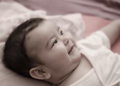 Niece :) (thetravelingblock) Tags: green baby little girl infant newborn family birthday pink celebration