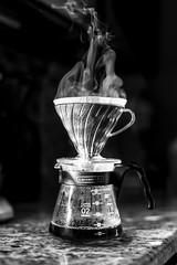 Weekend Brew (Chase Hoffman) Tags: sigma50mmf14dghsmart normal 50mm eos colorado chasehoffmanphotography chasehoffman canon denver dof depthoffield 5dmarkiv 5dmkiv canoneos5dmarkiv coffee blackcoffee brew brewing steam coffeepot bw blackandwhite monochrome blackwhite