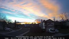 November 20, 2017 - A beautiful sunrise. (ThorntonWeather.com)