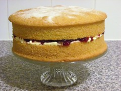 A labour of love [Explored] (pefkosmad) Tags: victoriasandwich victoriasponge spongecake cake baking cookery cooking sponge sandwich raspberryjam jam buttercream cakestand kitchen maryberryrecipe labouroflove food love explore explored