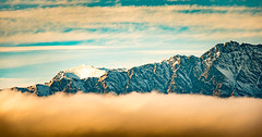 Long cloud mountains (amcatena) Tags: sunset new zealand snow mountain cloud queenstown