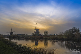 Windmills Nederwaard No. 7 & 8 during sunset.