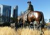 """Roundup"" Calgary. (Bernard Spragg) Tags: bronze art horse calgary publicart lumixfz1000 cowboy"