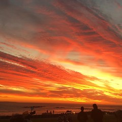 Big Bay sunset (rjmiller1807) Tags: sunset clouds sun pink orange silhouette bigbay capetown blouberg bloubergstrand southafrica westerncape 2017 iphone iphonography iphonese