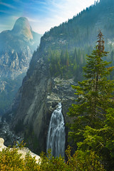 Illilouette Fall on a Smoky Yosemite Day (RobertCross1 (off and on)) Tags: a7rii alpha ca california emount fe1635mmf4zaoss halfdome ilce7rm2 illilouettefall longexposure panoramatrail sierranevada sierras sony yosemite yosemitenationalpark yosemitevalley bluesky canyon clouds creek fire forest forestfire fullframe gorge haze hiking landscape mirrorless mountains nature smoke tree trees water waterfall wildfire