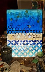 Moroccan Blue 16x22 (PreZen) Tags: layers interference hexagon colorfull acrylicpaint aquarel10 art shadesofblue manshapedstar blues bookpages painting gold 16x22 blue