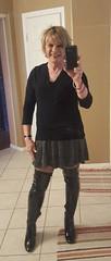 OTK patent boots and skater skirt (krislagreen) Tags: tg transgendar transgender transvestite cd crossdresser miniskirt hose overthekneeboots patent femme feminzation feminized skaterskirt