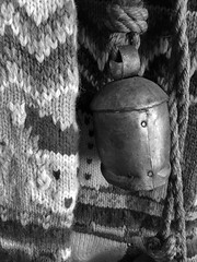 Yarn, rope & cowbell textures (Pejasar) Tags: oklahoma norman blackandwhite bw knot rope metal cowbell bell texture christmasstocking yarn