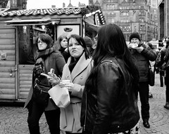 food faces (LozHudson) Tags: manchester fujifilm fujix100s x100s christmasmarkets people blackwhite mono monochrome food eating
