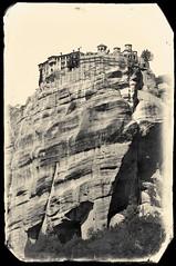 Meteora, Greece (Andrew Aliferis) Tags: blackandwhite bw andrew aliferis aga andy greece exposure x3 monastery orthodox mountain pindos mountains thessaly unesco worldheritagesite eastern μετέωρα