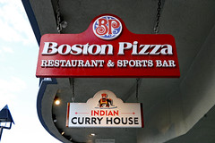 Boston Pizza and Indian Curry (Can Pac Swire) Tags: banff town centre city downtown alberta canada canadian 2017aimg0199 sign shop store restaurant bostonpizza indian curry house 225 avenue