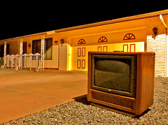 Worst Drive-In Ever (oybay©) Tags: suncitywest sun city west scw arizona az desert activeadultcommunity television tv console rca rcatv outdoors home house driveway night darkness color colors unusual abandoned alone isolation realestate old drivein movietheatre worst drive in