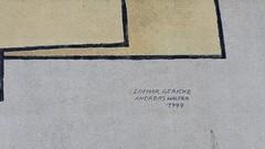 1999 Berlin Künstlersignet an Studie zu Goethes Farbenlehre Wandbild von Lothar Gericke/Andreas Walter Rosenbecker Straße 23 im Quartier Marzahn-Nord in 12689 Marzahn (Bergfels) Tags: skulpturenführer bergfels 1999 1990er 20jh nach1989 berlin studiezugoethesfarbenlehre wandbild bauschmuck lothargericke lgericke gericke andreaswalter awalter walter rosenbeckerstrase quartiermarzahnnord 12689 marzahn skulptur plastik beschriftet künstlersignet