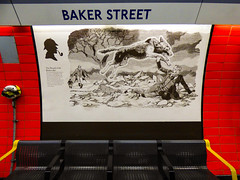 The Hound of the Baskervilles (Steve Taylor (Photography)) Tags: thehoundofthebaskervilles bakerstreet sherlockholmes hound dog wolf attack underground tube station animal art design picture black yellow white red tile seat contrast metal man uk gb england greatbritain unitedkingdom london stone rock silhouette cloud scary creepy eerie frightening spooky 221bbakerstreet
