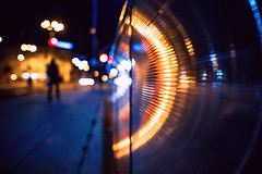 Hype (ewitsoe) Tags: sidewalk night people bokeh movement rail landing poland polska poznan cars traffic ewitsoe canon eos6dii 50mm street urban cityscape