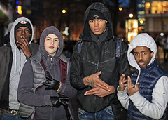 City Centre Youth (Mick Steff) Tags: manchester street urban male gang gangs youth piccadilly group signs