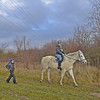 catch me if you horse (t.horak) Tags: nature autumn blue green brown white horse horseback rider helm hat boy woman walking behind legs