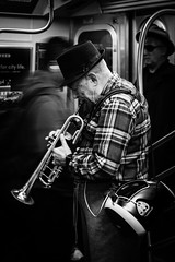 Trumpet Busker (King Grecko) Tags: america busker manhattan metro musician nyc newyork subway transport trumpet usa music transit underground