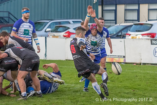 Sale's Jake Barron charges down Thomas Jones' kick-0319