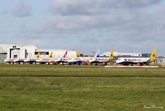 Airbus Line-Up at Shannon (birrlad) Tags: shannon snn international airport ireland aircraft aviation airplane airplanes airliner airline airlines airways parked apron ramp taxiway airbus a320 a321