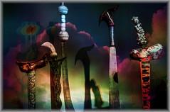Espadas y nubes (seguicollar) Tags: imagencreativa photomanipulación art arte artecreativo artedigital virginiaseguí espadas sombras orientales empuñaduras fundas
