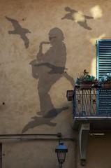 La sagoma di Lucio Dalla che suona il sax con attorno i gabbiani delle sue amate isole Tremiti, è stata realizzata tramite una rete metallica  sulla facciata della sua casa (maresaDOs) Tags: bologna omaggio luciodalla streetart italia murales cantante graffiti sagoma retemetallica sax gabbiani tremiti