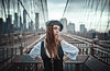Brooklyn Breeze (Camille Marotte) Tags: 2017 natalia newyork ostrofsky brooklyn bridge portrait woman girl onepoint oneperson beauty fashion usa canon sigma 35mm camillemarotte hair hat outfit metal rusty blue vintage 14 bokeh daylight face street streetphotography spontaneous manhattan perspective wide panoramic