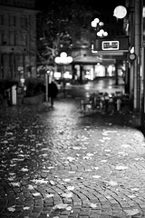 cobblestone leaves (mamuangsuk) Tags: cobblestoneleaves novemberrain wetcobblestones placesaintfrançois fallingleaves autumn fall autunno monochrome cityscape nightscape shallowdof