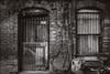 Knock Knock (mobiusfaith) Tags: blackandwhite bw brown browntone city urban urbex urbandesolation urbanexploration downtown akron ohio lock4 door window vines decay tiles wall bars barred brick plywood covered renovationsite