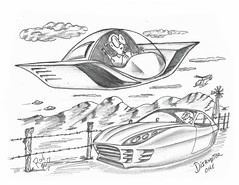 Disrupter One (rod1691) Tags: bw scifi grey concept custom car retro space hotrod drawing pencil h2 hb original story fantasy funny tale automotive art illistration greyscale moonpies sketch sexy