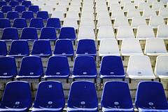 Sitzschalen (Miwedi) Tags: sitzschalen tribüne sportstadion brandenburg 2006 analog blauweis diapositivfilm