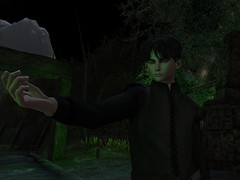 You do beleive me don't you? (Mordred!) Tags: story lotr oc teenager boy youth second life sl rp roleplay ranger night dark green ruin forest woods path stone old young hand tunic avatar teen virtual world medieval secondlife trees archway tree mountain creepy