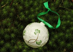 And Irish Christmas (Karen_Chappell) Tags: green white noel xmas holiday macro moss christmas ireland irish ornament ribbon decor decoration round ball circle bauble canonef100mmf28usmmacro
