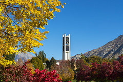 University Bell Tower in Fall Colors (aaronrhawkins) Tags: bell tower leaves fall autumn byu brighamyounguniversity carillon provo utah mountains trees seasons college aaronhawkins