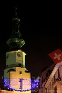 Michalská brána (St. Michael's gate) at night