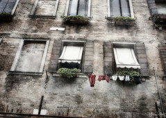 sun thirsty . . . (YvonneRaulston) Tags: europe venice washing clothes line windows window atmospheric art creativeartphotography red emotive texture peaceful fineartgrunge soft italy italian moody moments morning netartii old sony photoshopartistry street ally