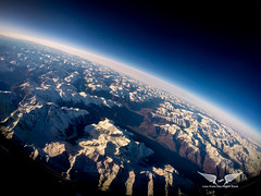 Space Shuttle reentry. Well, not quite, just crossing the mighty Alps in a 737 (gc232) Tags: space shuttle reentry iss very high altitude livefromtheflightdeck fisheye gopro fly flying alps mountains snow winter landscape dark sky airline pilots view golfcharlie232 earth beauty aviation airlinepilot