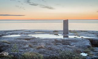 pillar at the rock coast of north sweden