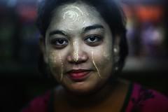 BURMESE BEAUTY (N A Y E E M) Tags: shopkeeper rakhine woman beauty portrait indoors burmese market coxsbazaar bangladesh availablelight light thanaka