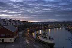 Dockside (Roger.C) Tags: bristol bristol247 bristolwaterfront waterfront docks harbour harbor water ships boats railways tracks dusk sunset bluehour lights lovebristol evening nikon d610 35mm prime mshed view reflections historic history old houses westcountry