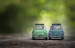 Perfect match (Ifigeneia Vasileiadis) Tags: miniature vintage turquoise teal green bokeh naturallight 500 fiat retro colors brains muscles perfestmatch tair11a