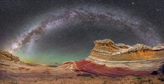 White Pocket Panorama (Wayne Pinkston) Tags: whitepocket arizona coyotebuttes vermillioncliffs night sky nightsky nightscape nightphotography nightlandscape wilderness desert waynepinkston waynepinkstonphotocom lightcrafter lightcraftercom stars star starrynight glaxy cosmos theheavensstronomy dramaticsky astrophotography landscapeastrophotography widefieldastrophotography nikon panorama