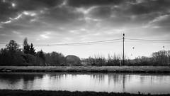 Just another afternoon walk... (Sylvie.) Tags: kanaal mechelen battel leuvensevaart water clouds black white drama moody sony a6000 24mmf18 24mm