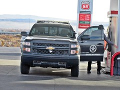 NMF&G 12/12/2017 (THE RANGE PRODUCTIONS) Tags: chevroletsilverado chevy pickup truck game warden newmexico nm southwestus smalltownsouthwest gasstation pump desert